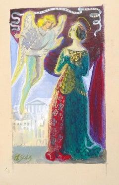 La Vision de L'Ange - Emile Deschler - 1940s - Mixed Media