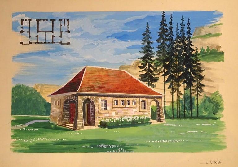 Project For A Villa - 20th Century - Emile Deschler - Tempera - Modern - Painting by Emile Deschler