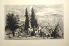 French Village - Original Drypoint by Eugene Corneau - XX Century