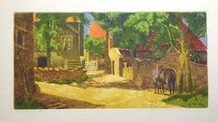 French Village - Original Coloured Drypoint by Eugene Corneau - XX Century