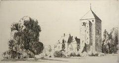 French Village with Church - Original Etching by Eugene Corneau - XX Century