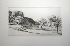 French Landscape - Original Etching by Eugene Corneau - XX Century