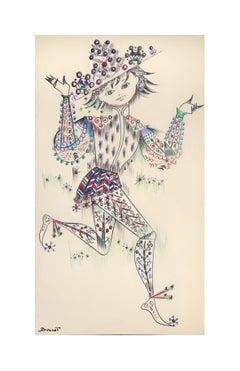 L'Arlequin de Noël - Original Pen Drawing on Paper by Buscot - Mid 1900