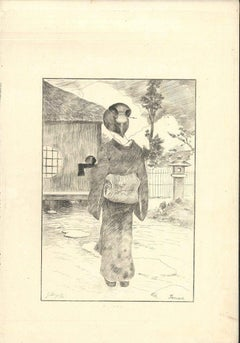 Servante - Original Etching on Japan Paper by G. F. Bigot - Tokyo 1886