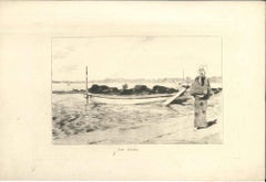 Lac d'Imba - Original Etching on Japan Paper by G. F. Bigot - Tokyo 1886