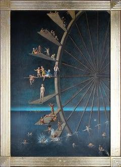 Giochi Acquatici (Water Games) - Oil on Canvas by Stanislao Lepri - 1965