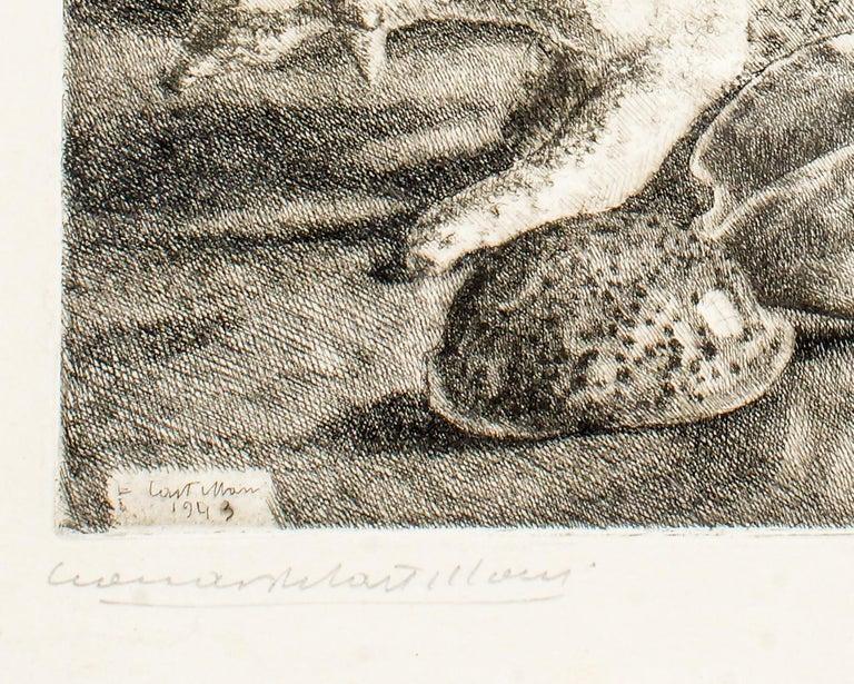 Seafood - Original Etching by Leonardo Castellani - 1943 For Sale 2