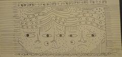 Melting Faces - Original Pencil on Paper by Michel Cadoret - 1955