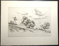 French Village - Original Etching and Drypoint by Eugène Corneau - 1930s