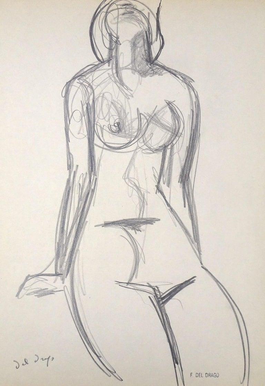 Francesco Del Drago Figurative Art - Nude - Original Charcoal Drawing by Francesco del Drago