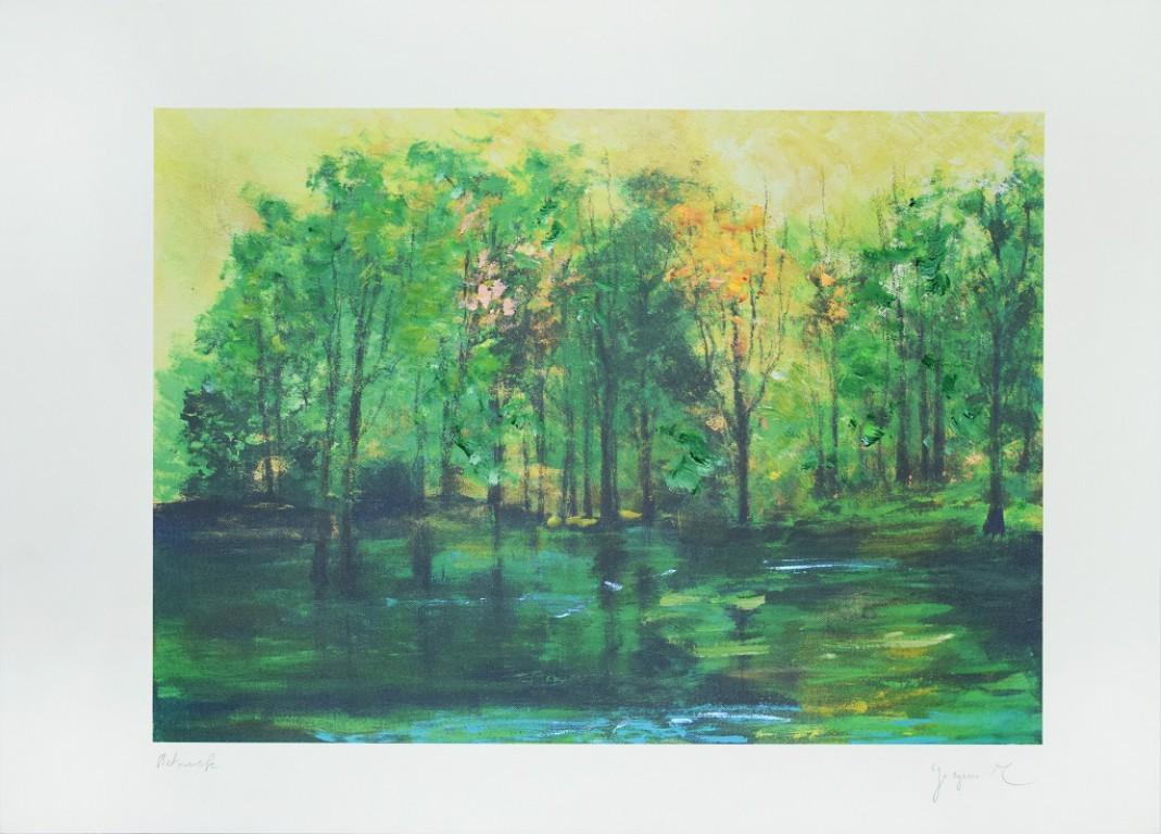 Green Forest - Original digital print by Martine Goeyens - 21th Century