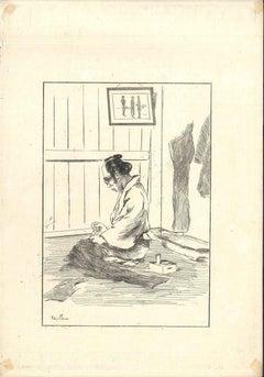 Tailleur - Original Etching on Japan Paper by G. F. Bigot - Tokyo 1886