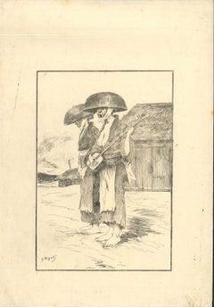 Untitled - Original Etching on Japan Paper by G. F. Bigot - Tokyo 1886