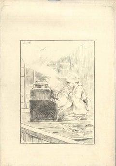 La Servante - Original Etching on Japan Paper by G. F. Bigot - Tokyo 1886