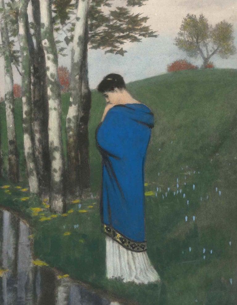 Herbstgedanken - Original Photo-Gravure Hand Watercolored - 1886 - Print by Arnold Boklin