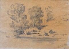 Landscape- Original Pencil Drawing by Giorgio De Chirico - 1977
