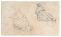 Two Studies of a Female Figure - 19th Century - Nino Costa - Drawing - Modern