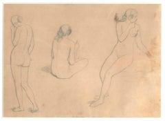 Three Nudes of Women - 19th Century - Nino Costa - Drawing - Modern