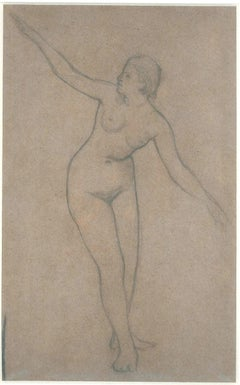 Female Nude with Stretched Arms - 19th Century - Nino Costa - Drawing - Modern