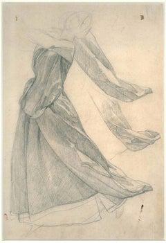 Drapery Study - 19th Century - Nino Costa - Drawing - Modern