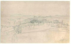 Hilly Landscape With Houses and Trees - 19th Cent. - N. Costa - Drawing - Modern