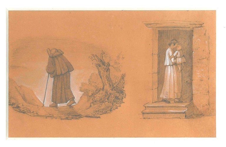Giovanni (Nino) Costa Figurative Art - Wayfarer Friar And Mother With Kid - 19th Cent. - N. Costa - Drawing - Modern