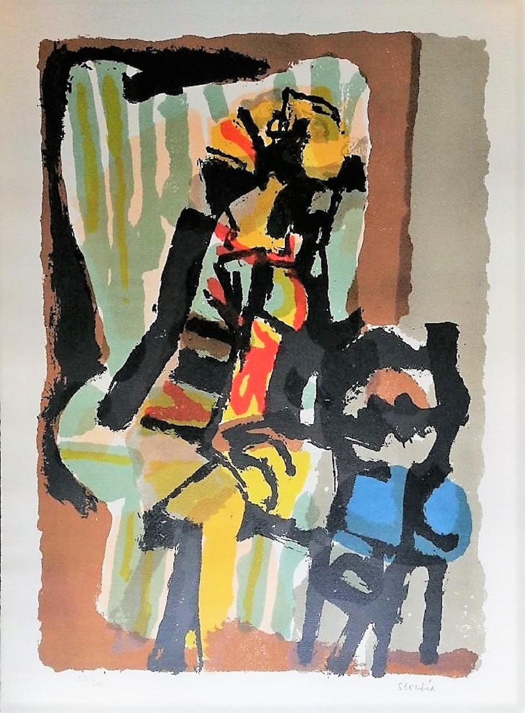 Woman on Armchair - Original Etching by Antonio Scordia - 1950