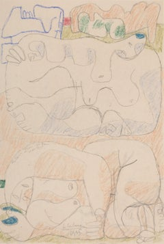 Femmes Couchées - Original Pencil and Pastel Drawing by Le Corbusier