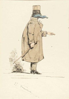 The Physician - Original Ink Drawing and Watercolor by J.J. Grandville