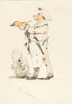 The Chef - Original Ink Drawing and Watercolor by J.J. Grandville