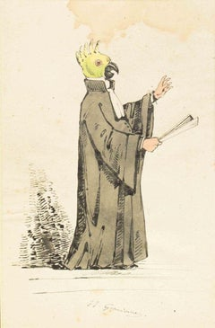 The Preacher - Original Ink Drawing and Watercolor by J.J. Grandville