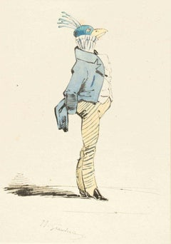 The Aristocrat - Original Ink Drawing and Watercolor by J.J. Grandville