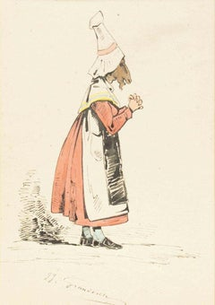 The Devotee - Original Ink Drawing and Watercolor by J.J. Grandville