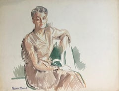 Portrait of a Lady - Original Watercolor on Paper by A. Fernand-Renault - 1930s