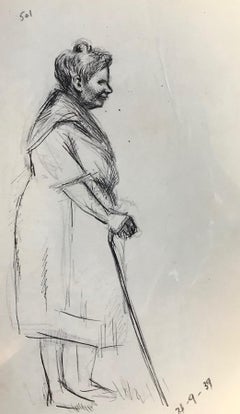 Old Woman - Original Pen and Pencil on Paper by J.L. Rey-Vila