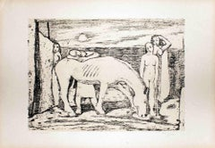 Women with Horse - Original Lithograph by Felice Casorati - 1946