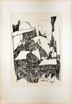 Faces - Original Lithograph by Felice Casorati - 1946