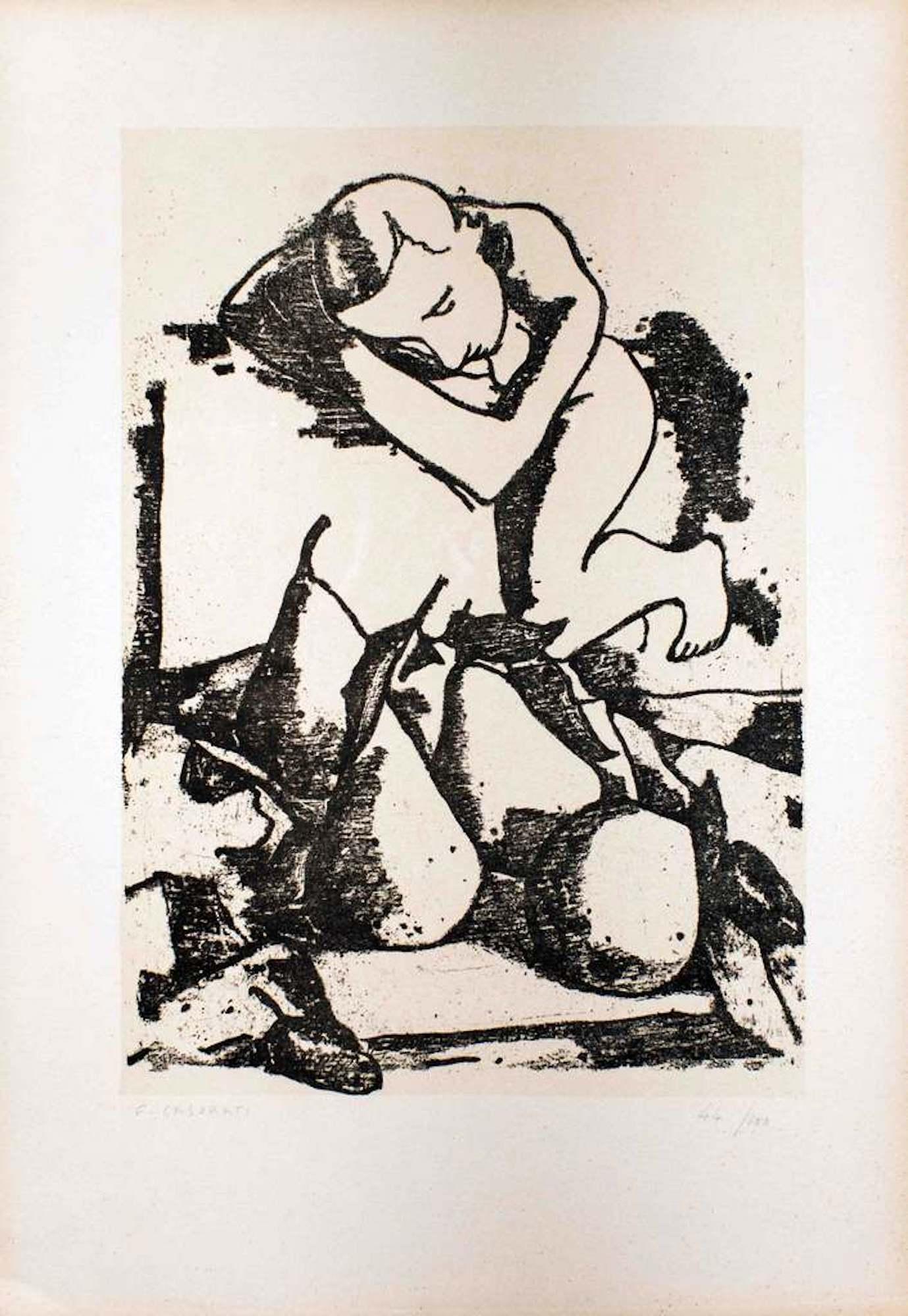 Sleeping Figure - Original Lithograph by Felice Casorati - 1946