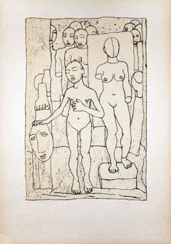 Nudes - Original Lithograph by Felice Casorati - 1946
