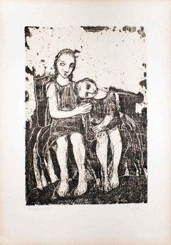 The Embrace - Original Lithograph by Felice Casorati - 1946