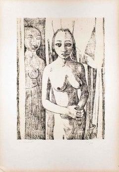 Nudes I - Original Lithograph by Felice Casorati - 1946