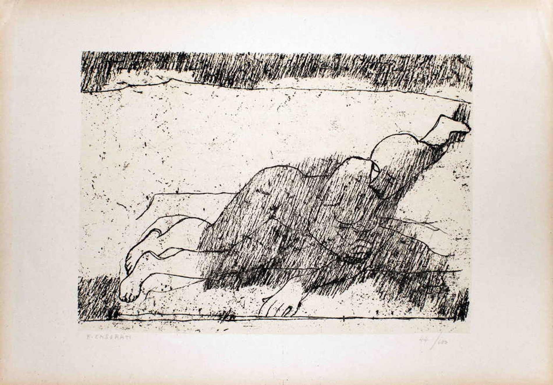 Lying Nude - Original Lithograph by Felice Casorati - 1946