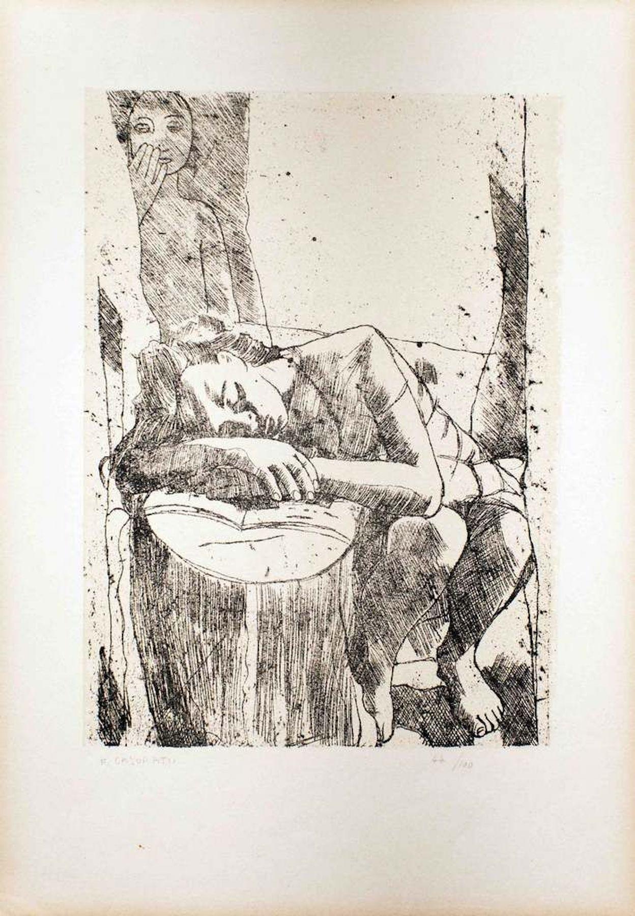 Sleeping Woman - Original Lithograph by Felice Casorati - 1946