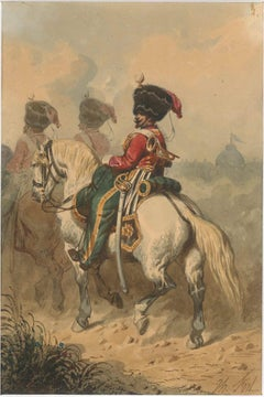 Cavalry - Original China Ink and Watercolor by Theodore Fort - 1844 ca.