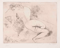Nu à L'éventail  - Original Etching by M. Chagall - 1924