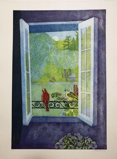 Parrots on the Window - 1986 - Ferdinand Finne - Aquatint - Contemporary