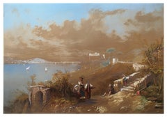 Bay of Naples 1857 - Original Watercolor and White Lead on Paper