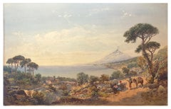 View Of Aetna From Taormina - Original Watercolor on Cardboard