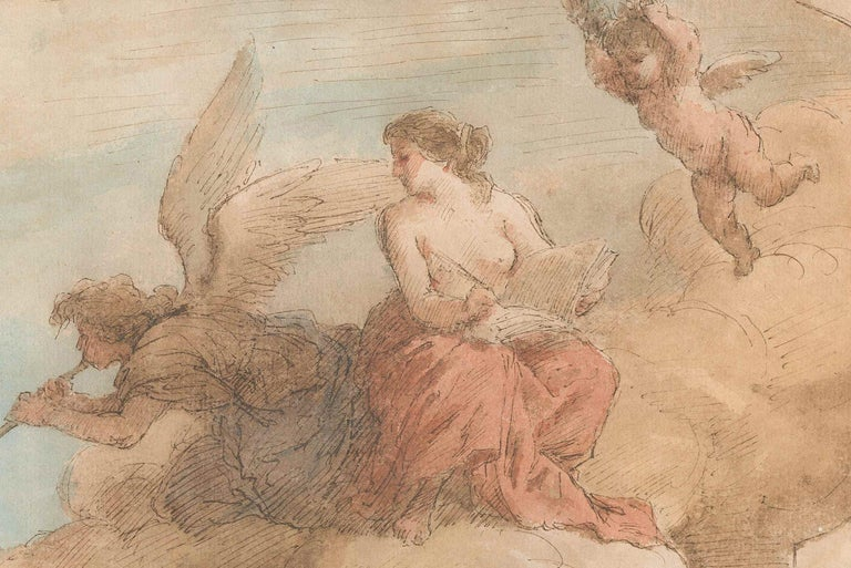 Allegorical Scene - Pen, Brown Ink and watercolor attributed. to J. Amigoni - Mannerist Art by Jacobo Amigoni