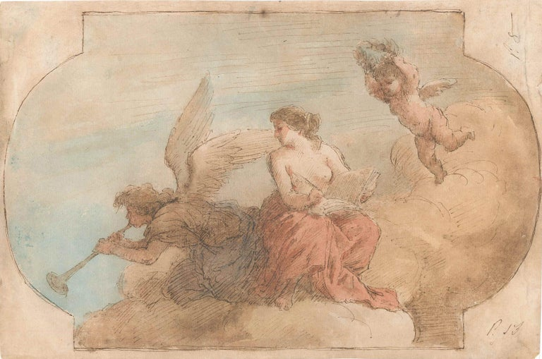 Jacobo Amigoni Figurative Art - Allegorical Scene - Pen, Brown Ink and watercolor attributed. to J. Amigoni